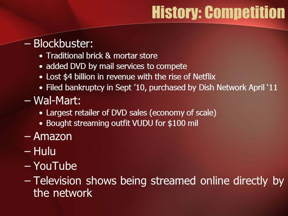 History: Competition Blockbuster: Wal-Mart: Amazon Hulu YouTube