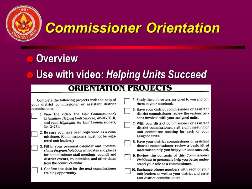 Commissioner Orientation