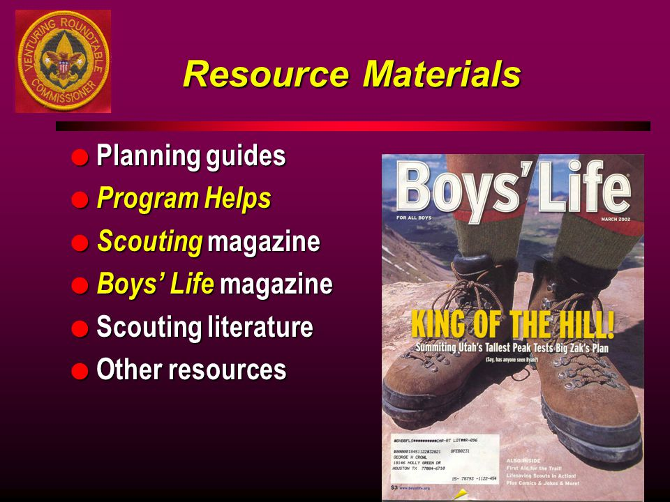 Resource Materials Planning guides Program Helps Scouting magazine