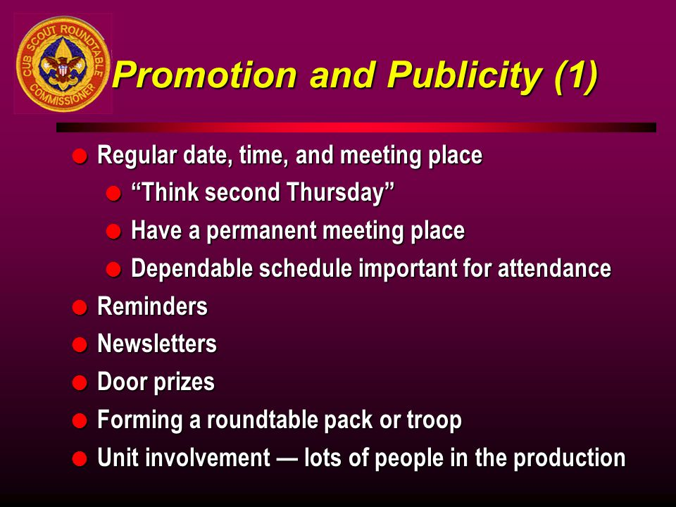 Promotion and Publicity (1)