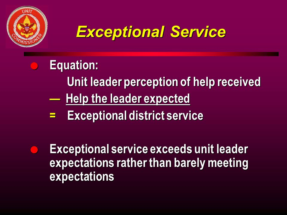 Exceptional Service Equation: Unit leader perception of help received