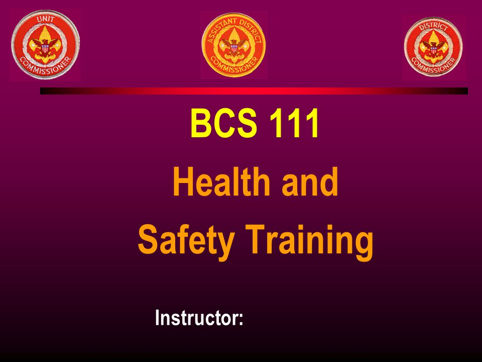 BCS 111 Health and Safety Training