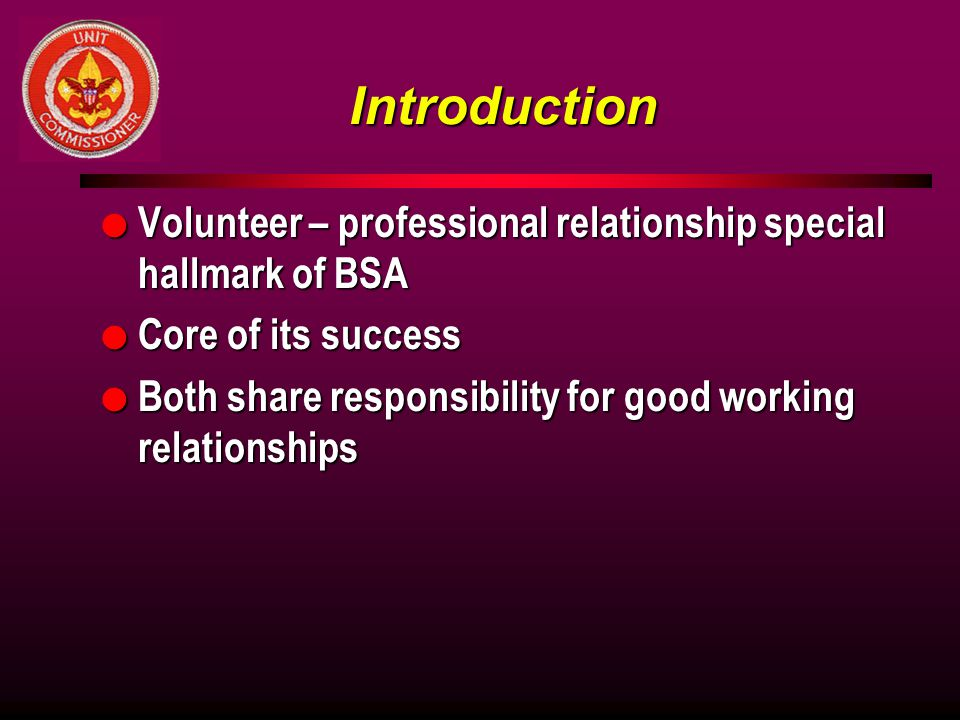 Introduction Volunteer – professional relationship special hallmark of BSA. Core of its success.