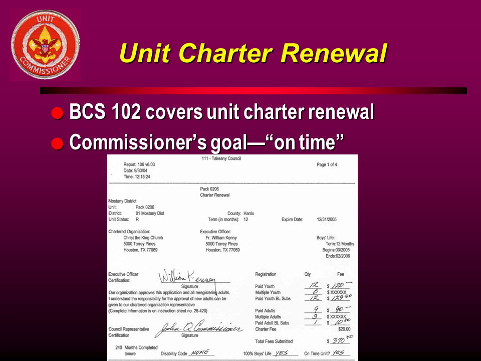Unit Charter Renewal BCS 102 covers unit charter renewal