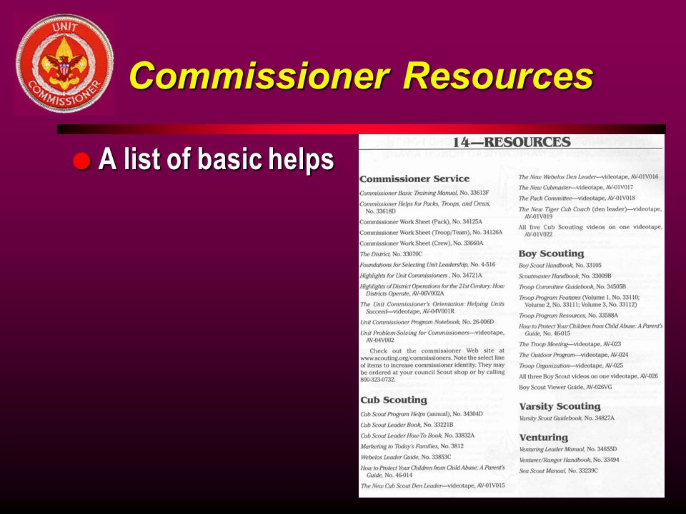 Commissioner Resources
