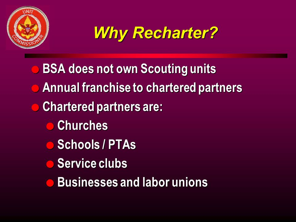 Why Recharter BSA does not own Scouting units
