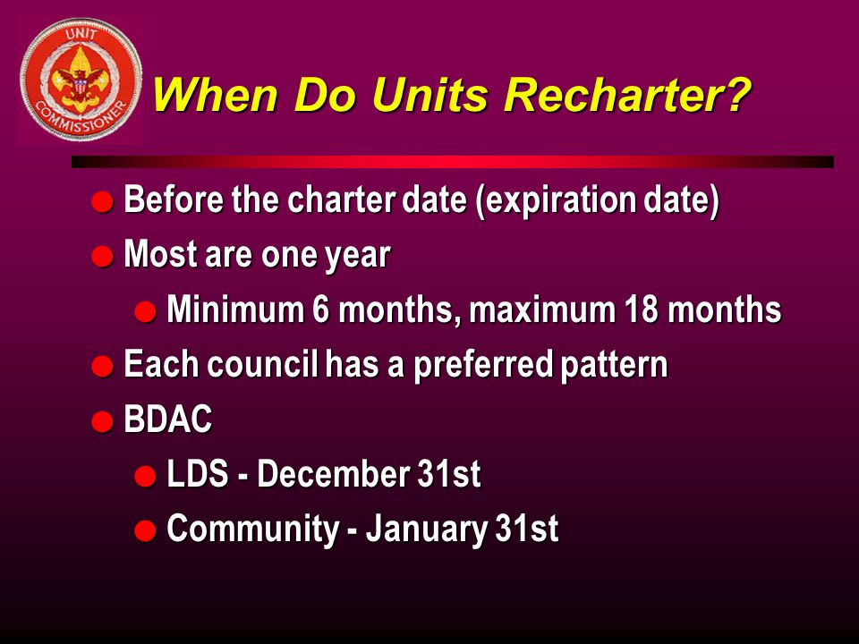 When Do Units Recharter