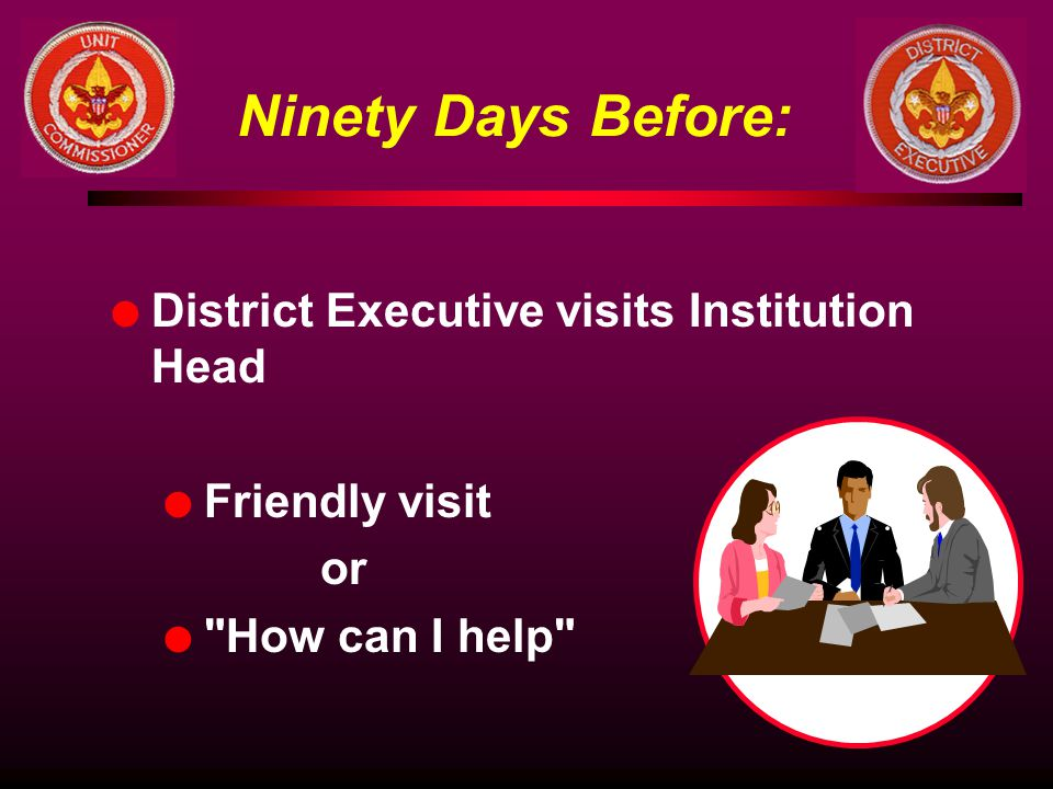 Ninety Days Before: District Executive visits Institution Head