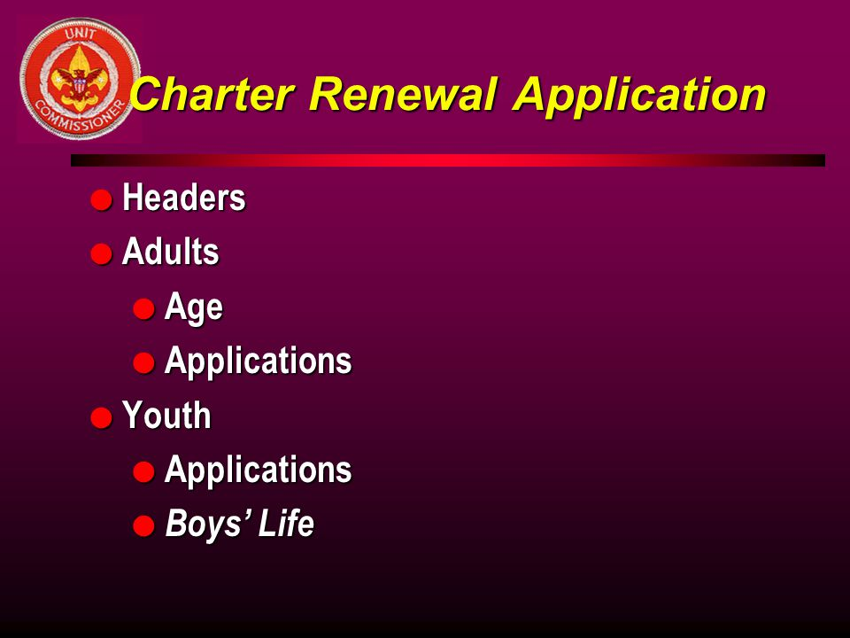 Charter Renewal Application