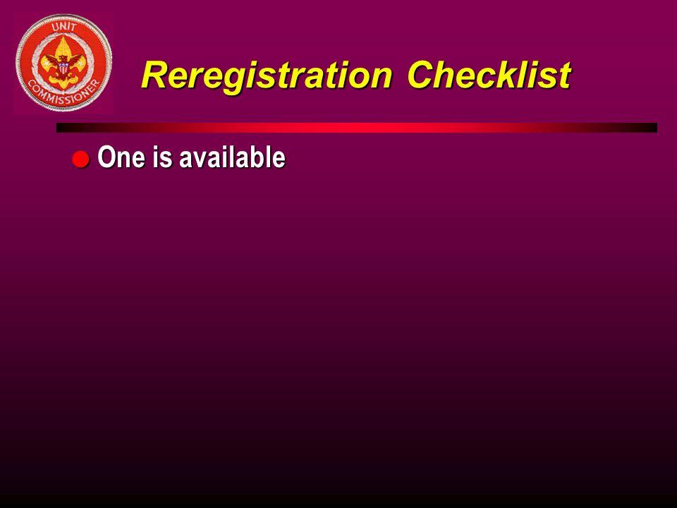 Reregistration Checklist