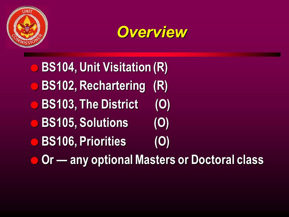 Overview BS104, Unit Visitation (R) BS102, Rechartering (R)