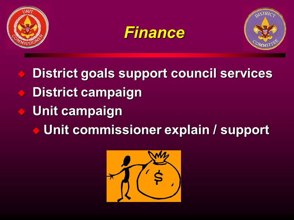 Finance District goals support council services District campaign