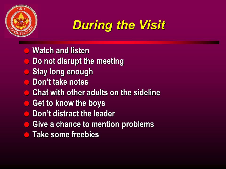 During the Visit Watch and listen Do not disrupt the meeting