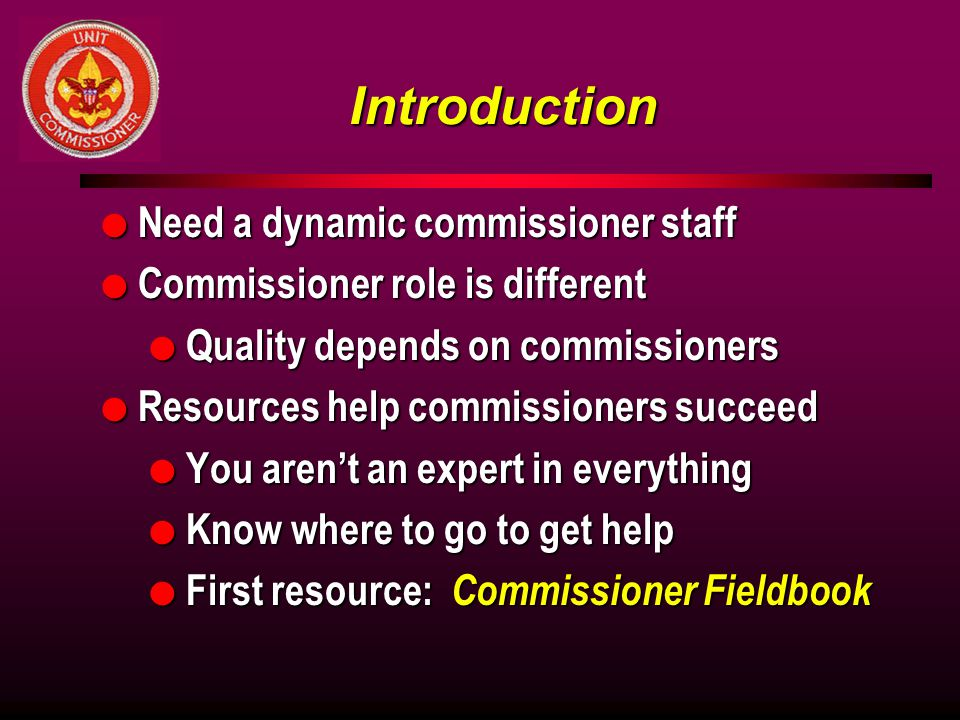 Introduction Need a dynamic commissioner staff