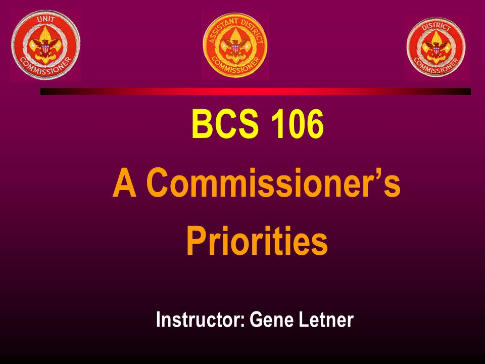 BCS 106 A Commissioner's Priorities