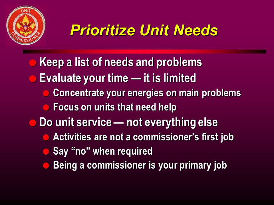 Prioritize Unit Needs Keep a list of needs and problems