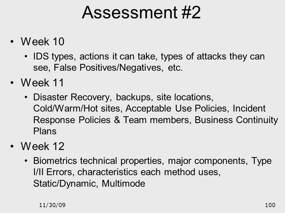 Assessment #2 Week 10 Week 11 Week 12