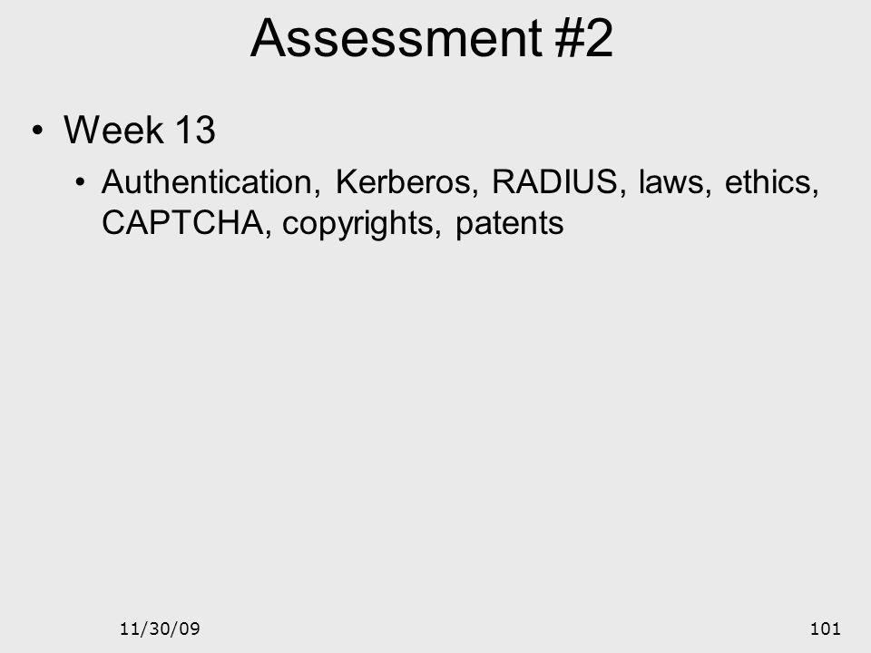 Assessment #2 Week 13. Authentication, Kerberos, RADIUS, laws, ethics, CAPTCHA, copyrights, patents.
