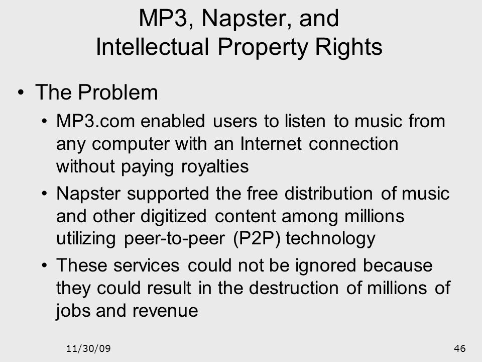 MP3, Napster, and Intellectual Property Rights