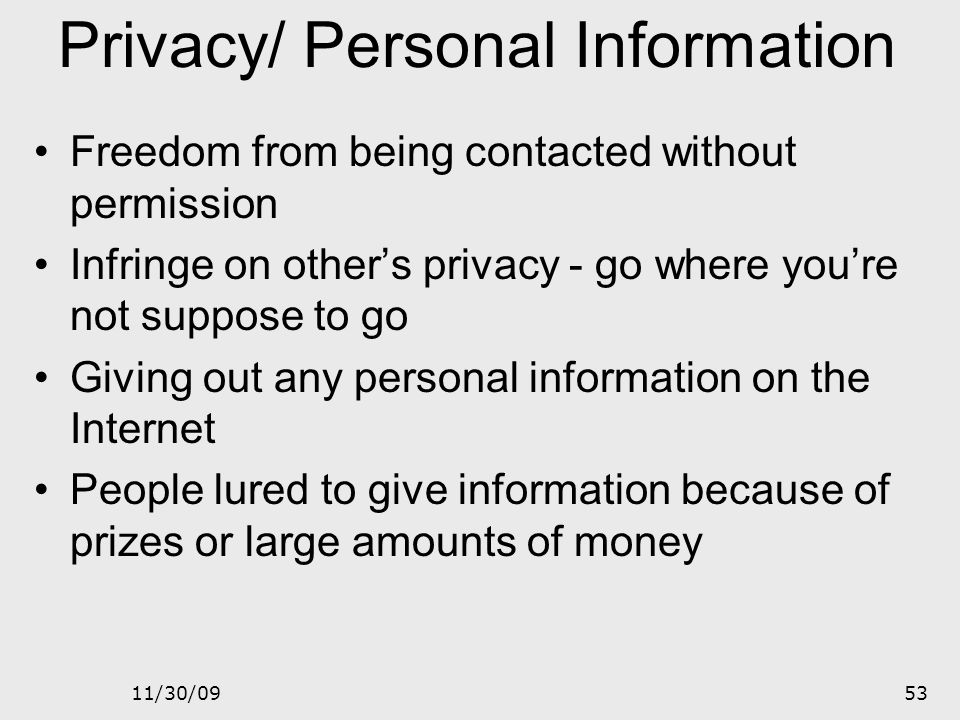 Privacy/ Personal Information