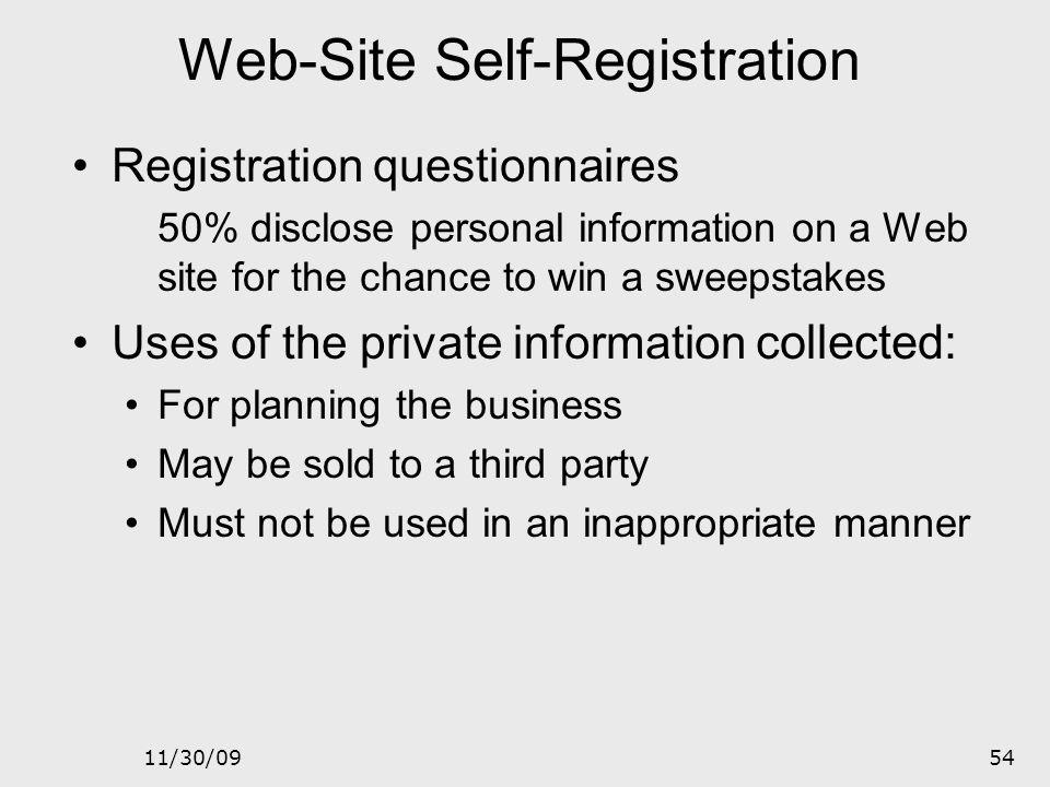Web-Site Self-Registration