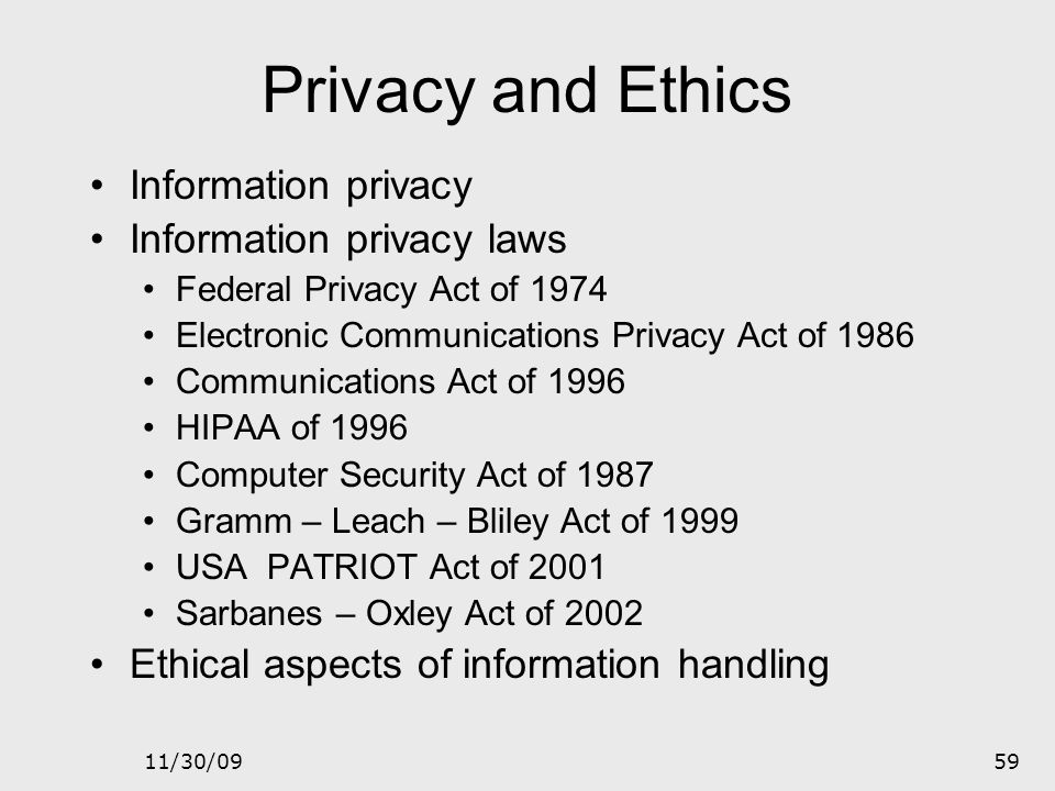 Privacy and Ethics Information privacy Information privacy laws