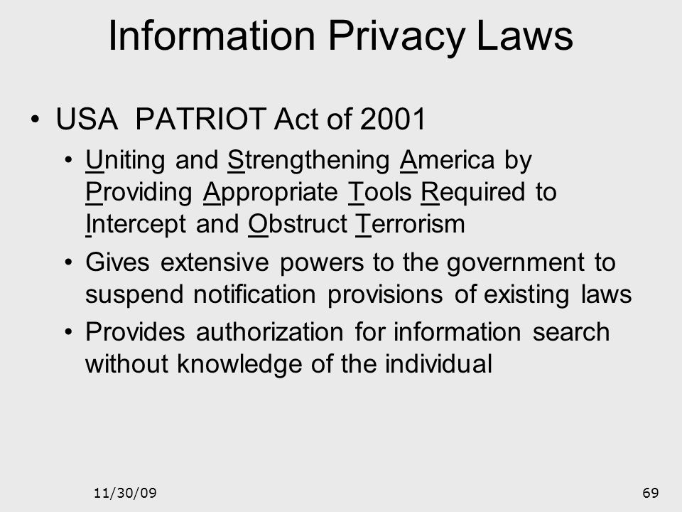 Information Privacy Laws