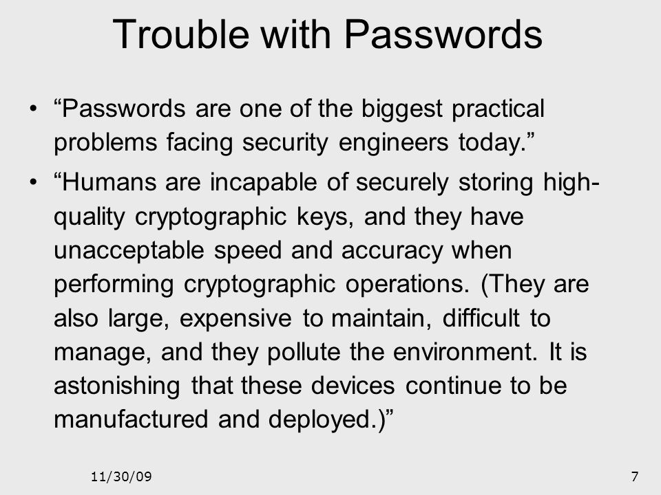 Trouble with Passwords