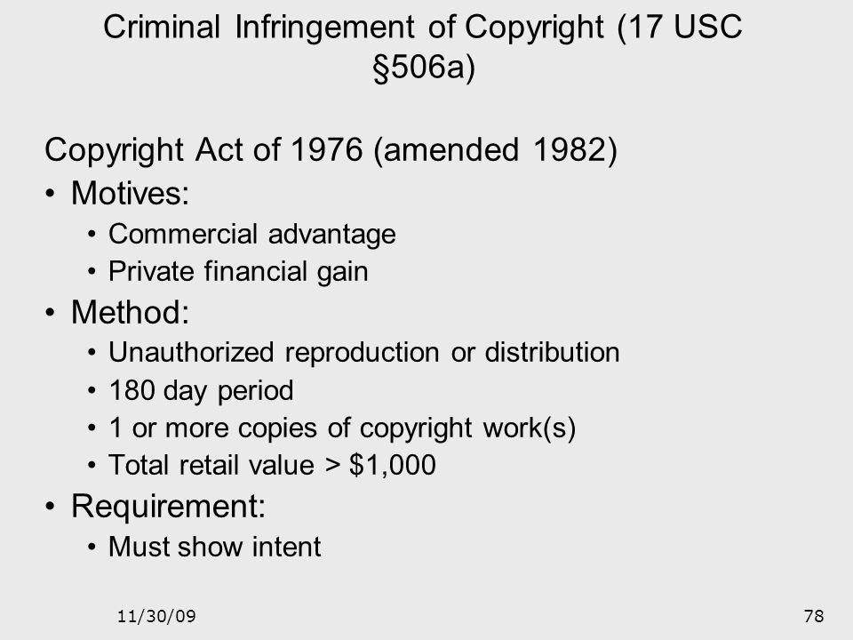 Criminal Infringement of Copyright (17 USC §506a)