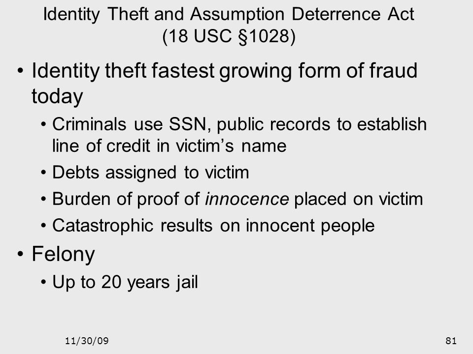 Identity Theft and Assumption Deterrence Act (18 USC §1028)