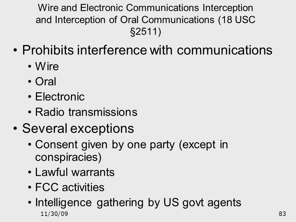 Prohibits interference with communications