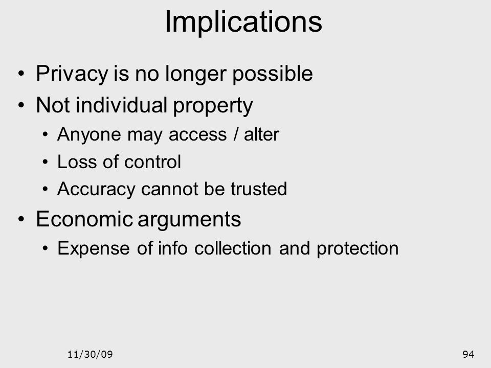 Implications Privacy is no longer possible Not individual property