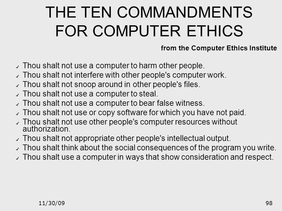 THE TEN COMMANDMENTS FOR COMPUTER ETHICS