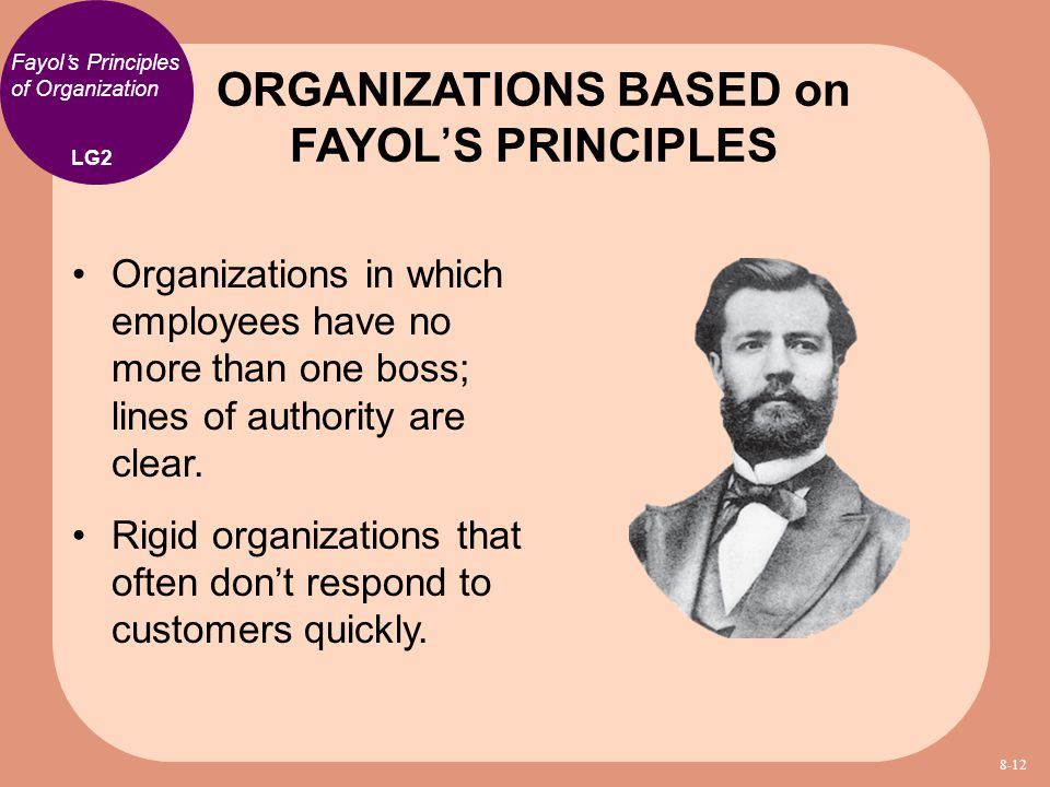 ORGANIZATIONS BASED on FAYOL'S PRINCIPLES