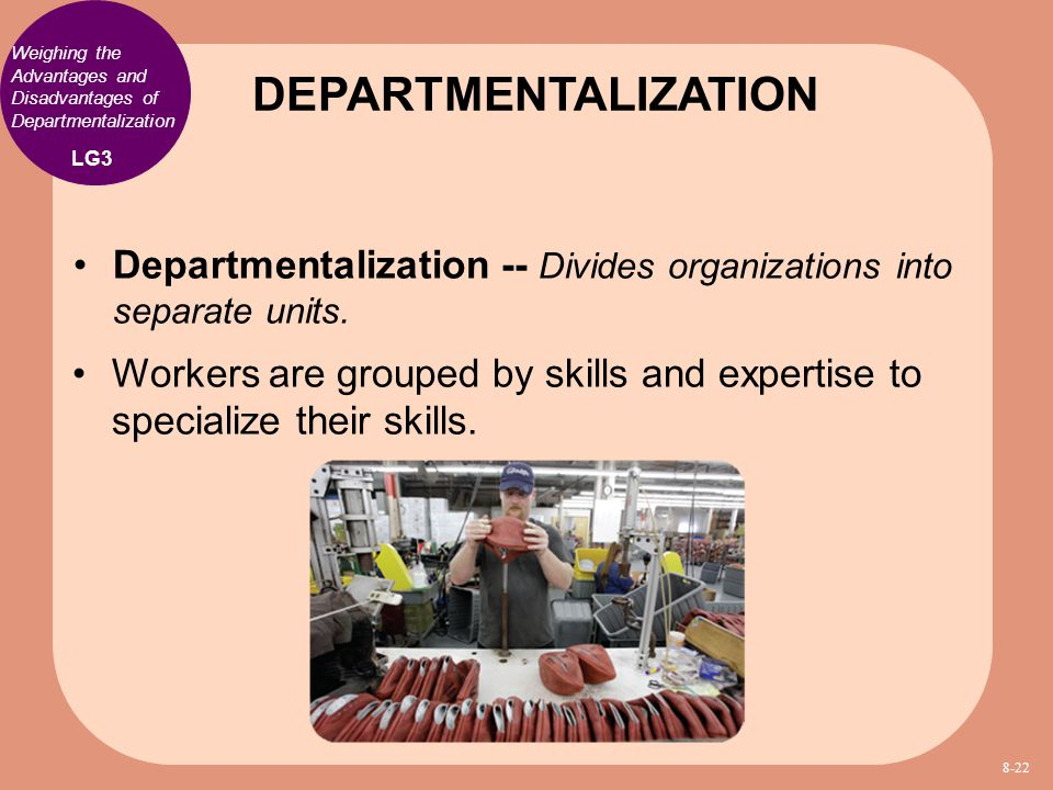 DEPARTMENTALIZATION Weighing the Advantages and Disadvantages of Departmentalization. LG3.