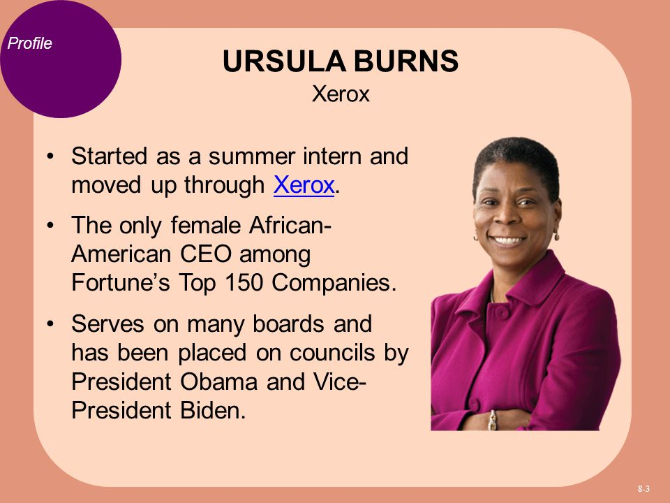 URSULA BURNS Xerox Profile. Started as a summer intern and moved up through Xerox.