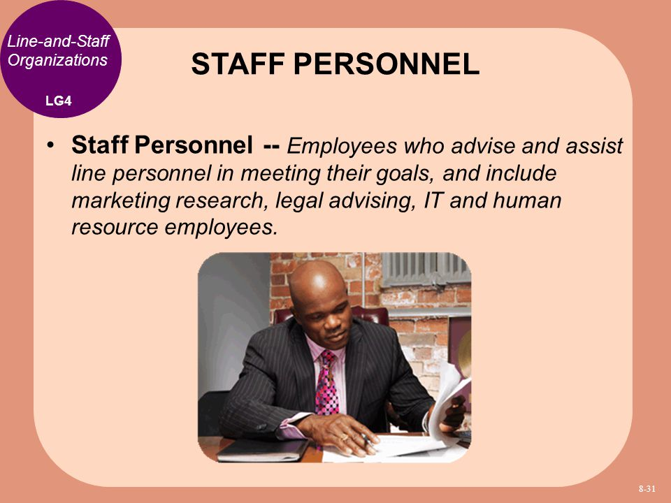 STAFF PERSONNEL Line-and-Staff Organizations. LG4.