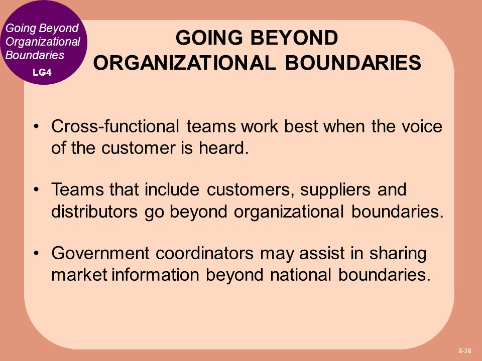 GOING BEYOND ORGANIZATIONAL BOUNDARIES