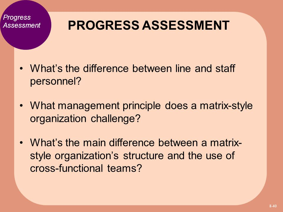 PROGRESS ASSESSMENT Progress Assessment. What's the difference between line and staff personnel