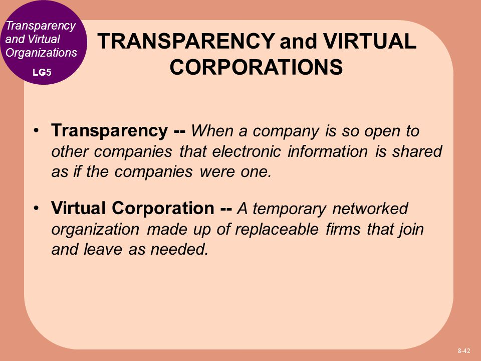 TRANSPARENCY and VIRTUAL CORPORATIONS