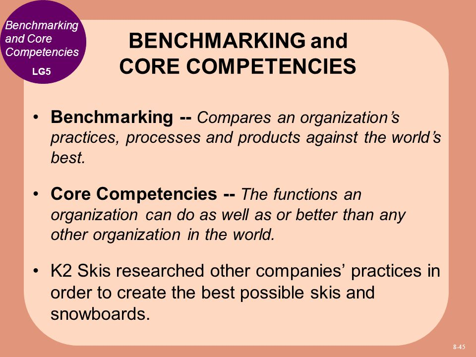 BENCHMARKING and CORE COMPETENCIES