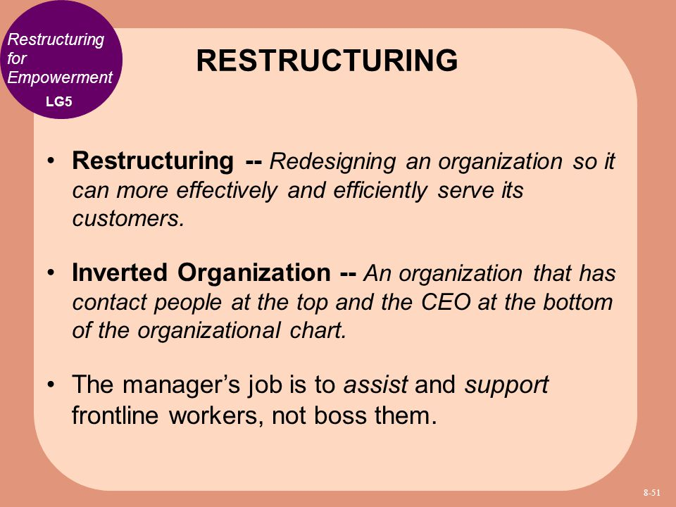 RESTRUCTURING Restructuring for Empowerment. LG5.