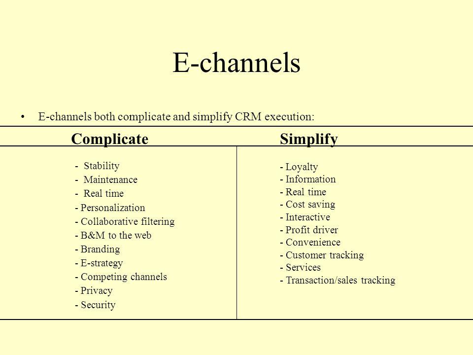 E-channels Complicate Simplify