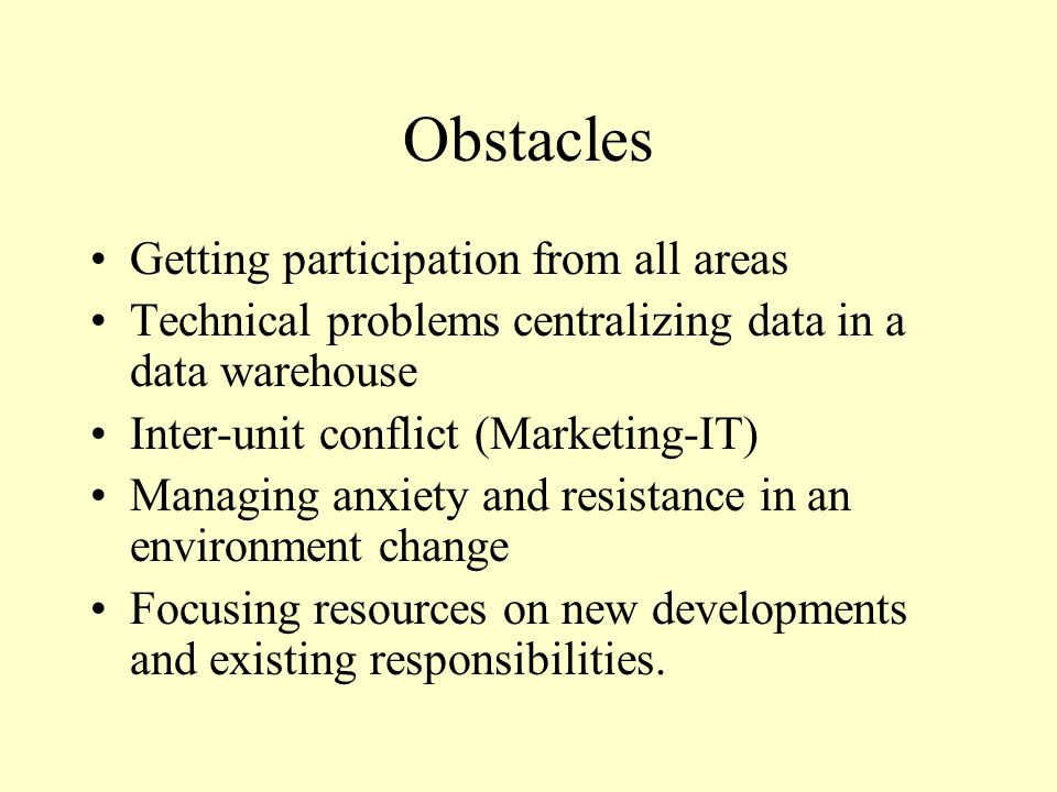Obstacles Getting participation from all areas