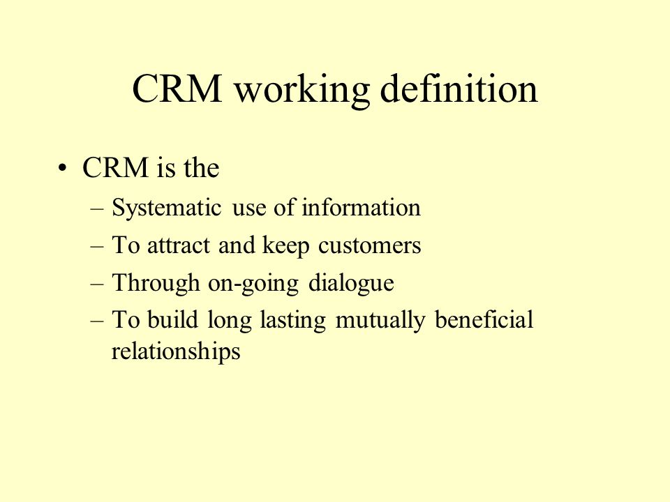 CRM working definition