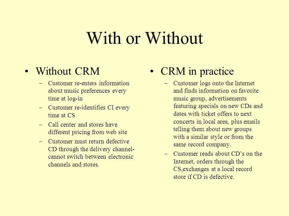 With or Without Without CRM CRM in practice