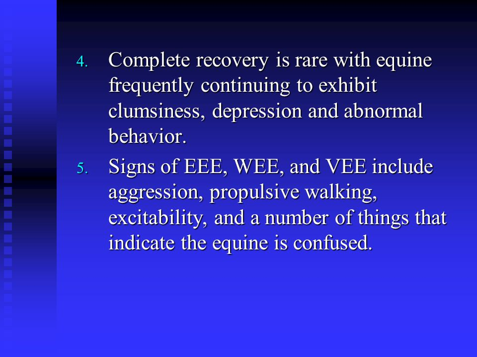 Complete recovery is rare with equine frequently continuing to exhibit clumsiness, depression and abnormal behavior.