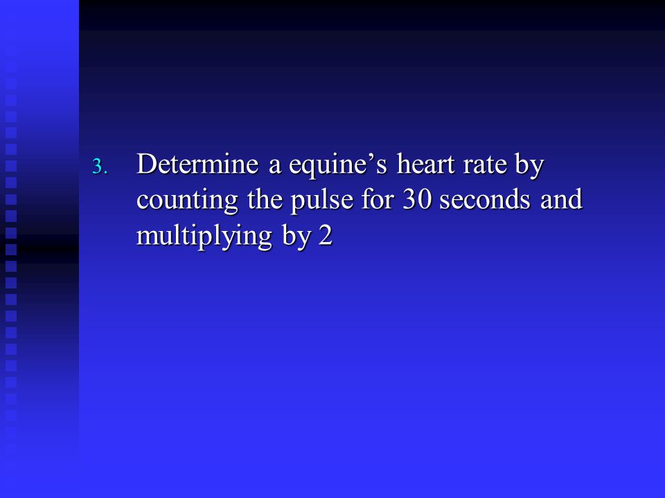 Determine a equine's heart rate by counting the pulse for 30 seconds and multiplying by 2