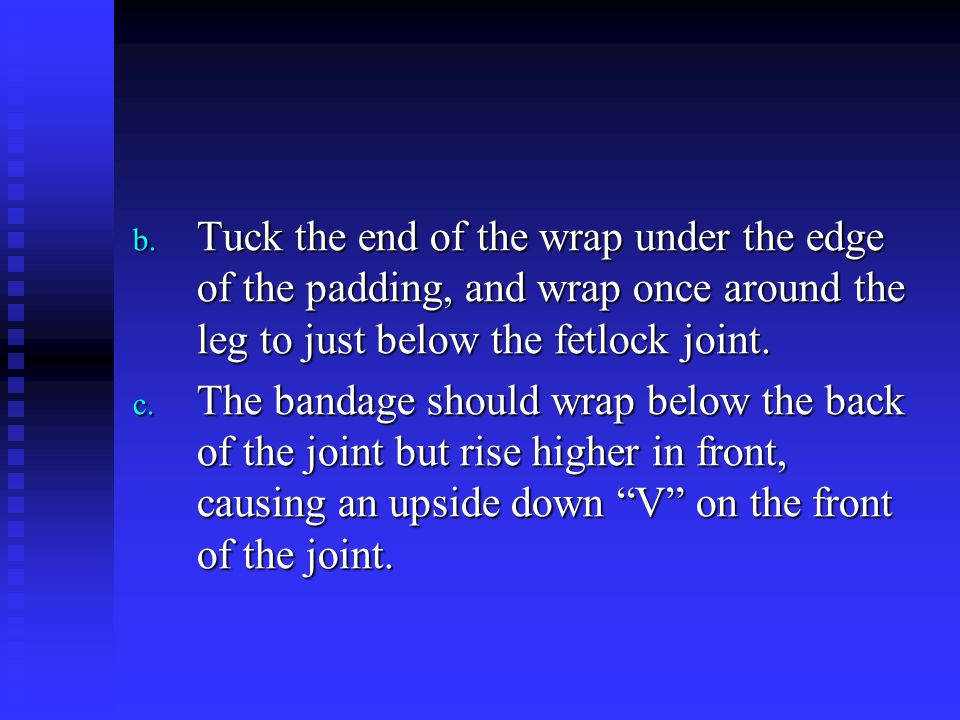 Tuck the end of the wrap under the edge of the padding, and wrap once around the leg to just below the fetlock joint.