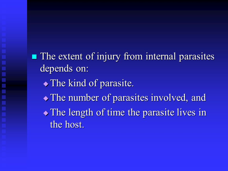 The extent of injury from internal parasites depends on: